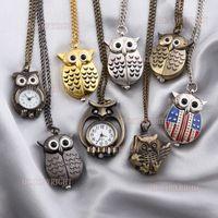 Wholesale Gift Ring Watch Chain - Wholesale-1pcs Retro Owl shape Quartz Pocket Watch with Free Chain Antique Vintage Animal Pendant Key Ring Men Gift