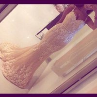 Wholesale spaghetti strap nude sequin dress - 2017 Evening Dresses Nude Full Beaded Mermaid Spaghetti Lace Sleeveless Backless Sweep Train with Belt Prom Gowns