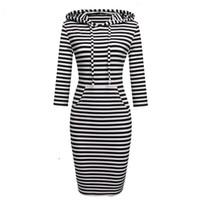 senhoras vestido com capuz venda por atacado-Novo 2017 outono inverno mulheres assoalho-comprimento dress casual quadris estilo longo bolsos com capuz dress lady espessamento dress xz-003