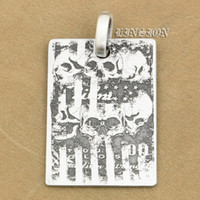 LINSION Deep Engraved High Detail Customizable 925 Sterling Silver Cranio Tag Dog Mens Biker Rocker Punk Pendente 9X008 Just Pendant
