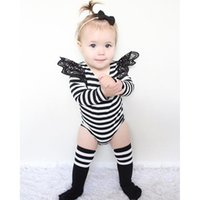 Wholesale Diapers Pure Cotton - 2017 Long sleeve baby striped rompers spring autumn winter infant toddler lace romper solid pure color onesies babies diaper covers bloomers