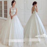 Wholesale Cheap Corset Back Wedding Dresses - 2017 Simple White Lace Tulle Wedding Dresses A Line Jewel Neck Cap Sleeves Appliques Floor Length Bridal Gowns Cheap with Corset Back