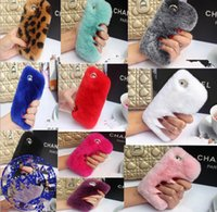 Wholesale Phone Cases Galaxy S4 - Real rex Rabbit soft Fur Phone diamond cover Case For Iphone X 8 7 6 6S Plus 5C Samsung Galaxy Note 5 4 S7 S6 Edge S5 S4 s8
