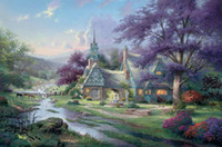 Wholesale Clocktower Cottage Thomas Kinkade Oil Paintings Art Wall Modern HD Print On Canvas Decoration No Frame