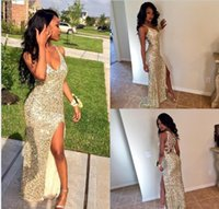 Sexy Arabic Front Split Prom Party Dresses 2016 Deep V Neck Sparkly Champagne Sequined Open Back Плюс Размер Vestidos De Novia Evening Gowns