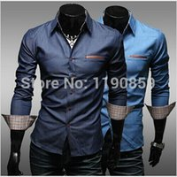 Wholesale Polyester 65 Cotton 35 - Wholesale- Freeshipping 50pcs lot Factory directly supply fashion promotion 35% cotton 65% polyester casual denim shirts for men