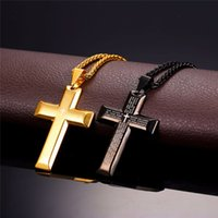 Wholesale Big Men Necklace - Big Cross Necklaces Black Gold Color Stainless Steel Bible Cross Pendant & Chain For Men Hiphop Jewelry P868
