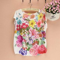 Wholesale Beautiful Grils - Wholesale-Beautiful flower print women t-shirts 2016 new grils summer dresses America & Europe Stylish top tees wholesale drop shipping