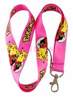 telefones celulares rosa grátis venda por atacado-Hot! 30 pcs rosa pikachu anime clássico pescoço cordão cinta celular cartão de identificação do telefone móvel chave frete grátis