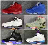 Wholesale Shoe Air Camo - Air Retro 5 Red Blue Suede White Cement Camo 2017 Raptors Hornets Women Men Basketball Shoes Sneakers Retro 5S Basket Sport Shoes