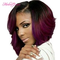 Wholesale Black Women Short Wigs - Fantastic Nice Piano Color Black And Burgundy Short Straight Bob Synthetic Hair Wigs For Black Women Cheap Straight Wave Ombre Hair Wig