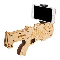Wholesale Newest Iphone Games - Newest Portable Bluetooth AR-Gun Newest style 3D VR Games Wooden Material Toy AR Game Gun for Android iOS iPhone Phones