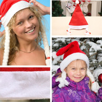 Wholesale Santa Hat Braids - New High quality festival decorations christmas supplies Non-woven fabric Christmas hat with braids Santa Hat IA809