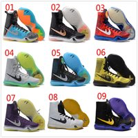 Wholesale Cream Colour Boots - 2017 High quality generation high-top sneakers boots 9 Colours Kobe KB 10 Elite Black Mamba Blackout High Men Basketball Shoes