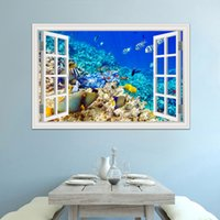 Discount mural fish - 3d Window View Underwater World and Fish Wall Stickers Decals PVC Mural Wallpapers for Living Room Wall Art Decal Decoration