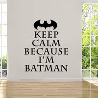 Wholesale Keep Calm Decal - Personality Keep Calm Batman Removable Quote Wall Sticker Decal Vinyl Home Decor Bedroom Living Room DIY