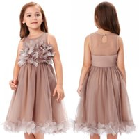 Wholesale Cute Girl Photos - 2017 New Fashion Khaki Floral Tulle Flower Girl Dresses Cute Sheer Crew Neck Zipper Pleats Knee Length Girl Pageant Gowns CL010456