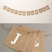 Wholesale Burlap Wedding Banners - jute rope flax Wedding Photo Props Vintage Banner Jute Burlap Bunting Just Married Rustic Garland Party wedding Decoration