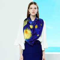 "Wholesale Oil Paintings Scarves - ""Starry Night"" Print Shawls Luxury Brand 100% Natural Silk Scarf Wraps Shawls 160*40CM Headband Bandana Van Gogh's Oil Painting"