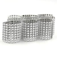 Vente en gros- 20PCS / Lot Hot Sale Silver 8 Rows Bow Covers With Closure Napkin Ring Diamond Pour Wedding Party Chair Sashes Decoration Crafts
