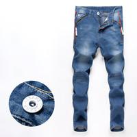 Wholesale Men Low Waist Jeans - Wholesale-2015 New men jeans pants slim fit straight male trousers zipper style drop shipping 28-34(93cm waist)
