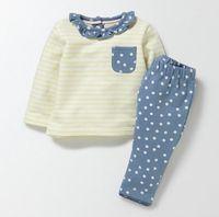 Wholesale little girl collar shirts - NEW ARRIVAL Little Maven girls sets 100%Cotton Long Sleeve round collar dot print girl's set causal spring autumn girl set t shirt + pant