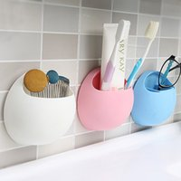 Wholesale Toothbrush Holders Suction Cups - Practical New Cute Eggs Design Toothbrush Sucker Holder Suction Hooks Cup Organizer Toothbrush Rack Bathroom Kitchen Storage Set