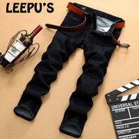 Wholesale High Waisted Capris Plus Size - Wholesale- Leepu's Brand 2017 summer casual Men's jeans high quality Pure Middle-waisted Midweight Loose jeans straight full length 8687#