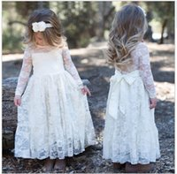 Wholesale Girls Transparent Dress - New Toddler Transparent Sash Floor Length Lace A Line Flower Girl Dresses Long Sleeve Wedding Party Pageant Gowns White Ivory Custom Size