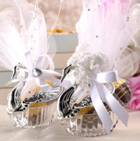 Wholesale Sweet Candy Box Silver - Swan Wedding Party Gift Candy Boxes Elegant Favours Anniversary Celebrations Sweet chocolate covers Box decoration gold silver