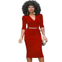 Wholesale Sexy Business Casual Dresses - Womens Casual Dresses Retro sexy One-Piece Wear To Work Office Business Sheath Dress free shipping