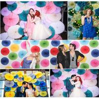 """Wholesale Flower Balls For Centerpieces - 8"""" 10"""" 12""""Tissue Paper fans Flowers pom poms balls lanterns Party Decor Craft For Wedding Decoration multi option fan"""