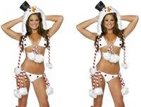 Wholesale Sexy Movies Free - 2017 Christmas Snowman Clothing Bar Singer Uniforms Christmas Party Sexy Dress Uniforms Temptation Stripe Pompoms Bikini +Hat + Set Foot
