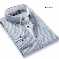 Großhandel- 2017 Männer Placket Innen Kontrast Kleid Shirts Regular Fit Business Casual Langarm-Plaid Gestreift / Twill Shirt für Work Wear