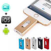 Wholesale Flash Drive Internal - 3 in 1 OTG USB Flash Drive for iphone 7 6 5 lightning Pendrive 8g 16gb 32gb 64gb iFlash-Driver Micro usb memory sticks