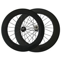 Wholesale Cheap Tracking - 88mm Clincher Carbon Wheelset 3K Glossy Fix Gear Wheels 700C Full Carbon Cheap Track Bike Wheel Free Shipping