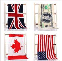 Wholesale Best Living Room Designs - Best Selling 100% cotton beach towel drying washcloth swimwear shower towels USA UK Canada flag dollar design bath towel free shipping