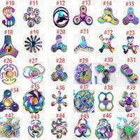 Wholesale Gyro Spinning Top - Fidget spinner toys Rainbow Tri-Fidget Metal Hand Colorful EDC Gyro Toys HandSpinner spinners finger top spinning Toy