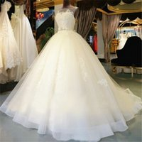 Wholesale Cheap Simple Pageant Dresses - A Line Simple Wedding Dresses With Bow Lace Appliques Tulle Sheer Neckline Pageant Gowns Sweep Train Zipper Beach Wedding Dress Cheap