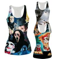 Wholesale Sexy Owl Shirt - Women's Sexy Camisole 3D Pizza Cat Halloween Devil Owl Map Full Printed Tanks Top Women Fashion Sleeveless T-shirt