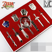 Wholesale 11pcs setThe Legend of Zelda key ring The Legend of Zelda weapons sets Link swords of keychains necklace for xmas gift top