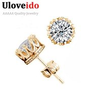 Wholesale Male Studs - 50% off 925 Sterling Silver Male Crystal Cute Earings Cubic Zircon for Women Bigiotteria Cristallo Platinum 24K Gold Plated Y048