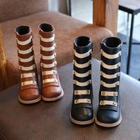 Wholesale Cute Black Booties - Kids roman booties fashion girls cute rivet knee length high princess single boots autumn children non-slip soft equestrian boots R0125