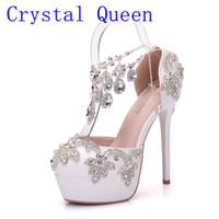 Wholesale wedding shoes sandals crystal heels online - Crystal Queen New Fashion Rhinestone Sandals Pumps Shoes Women Sweet Luxury Platform Wedges Shoes Wedding heels High Heels