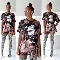 Wholesale hot woman sexy animals - Wholesale- hot new t shirt women print shirt dress 2016 sexy hole tupac hip-hop short sleeve t-shirt femme tops plus size clothing