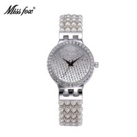 Wholesale Decorative Glass Diamonds - Arrival Fashion Selling Original Design Tribute To The Classic Retro Ladies Watch Pearl And Diamond Decorative Watch Miss Fox