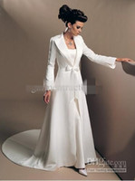 Wholesale Ivory Satin Wedding Coat - Elegant Long Sleeve Wedding Dresses Coat A Line Sweep Train Ivory Satin Bridal Long Jackets With Bow Sash Custom-made