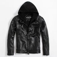 Wholesale Short Leather Jacket Hood - FREE SHIPPING 2017 Men Black Hood Genuine Leather Motorcycle Jacket Real Thick Cowhide Slim Fit Short Biker Coat Plus Size XXL