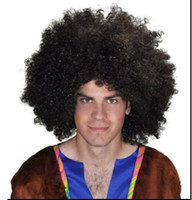 Wholesale Blonde Men Wigs - Xiu Zhi Mei 200g Brazil soccer fan's wigs afro wigs Men Afro Fans Wigs Bulkness Christmas Halloween Carnival Party Short Curly Cosplay Wig