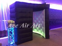 Wholesale Photo Booth Tent - portable black kiosk booth tent with led,inflatable photo booth enclosure with red entrance curtains for events